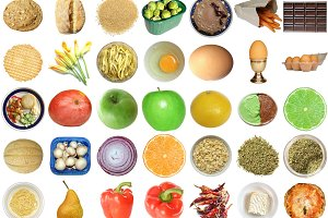 Food collage isolated