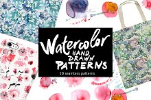 Watercolor hand drawn patterns