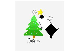 Dog & Bird with Christmas tree