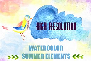 44 High Res Watercolor Elements