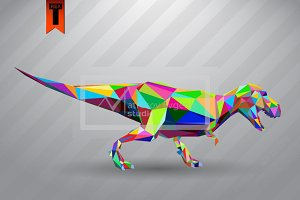 T-rex from triangles. color