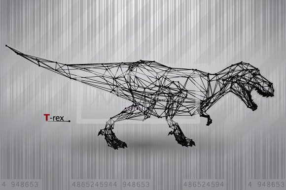 T-rex from triangles and lines in Illustrations