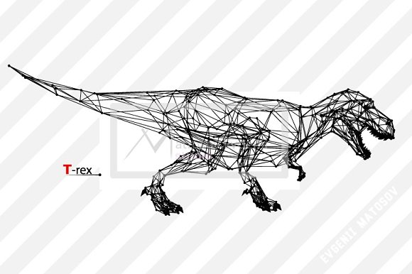 T-rex from triangles and lines in Illustrations - product preview 1