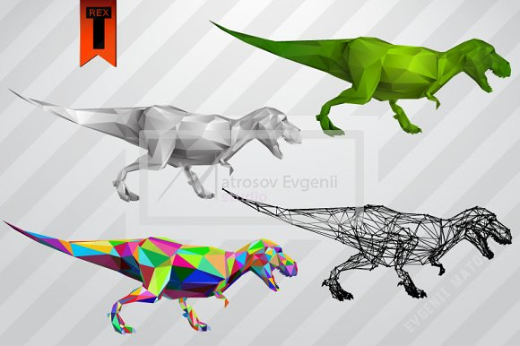 T-rex from triangles. Set - Illustrations