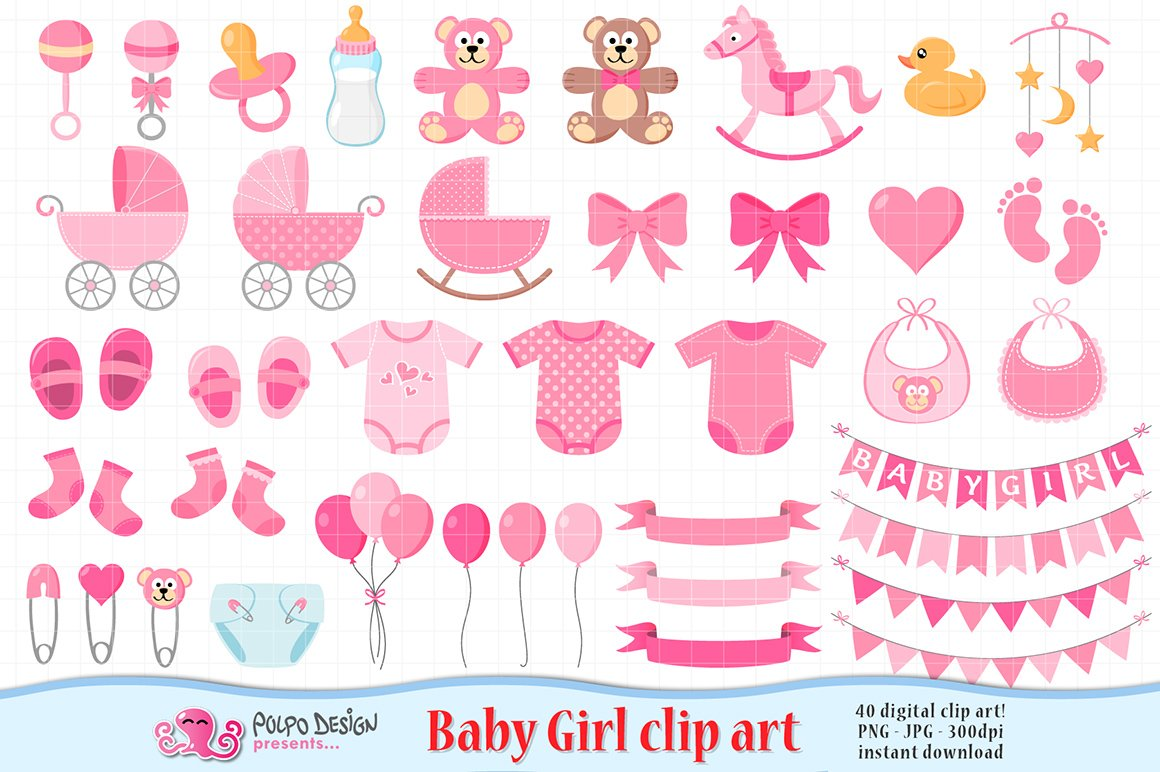 baby girl clipart graphic objects creative market