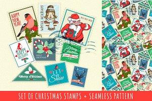 Set of seamless Christmas stamps