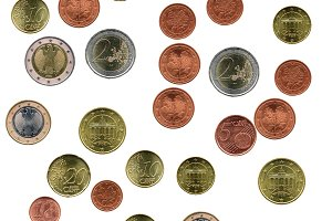 Euro coins collage