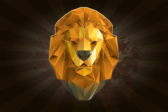 Lion from triangles. Color - Illustrations