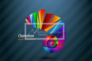 Chameleon from triangles. Logo