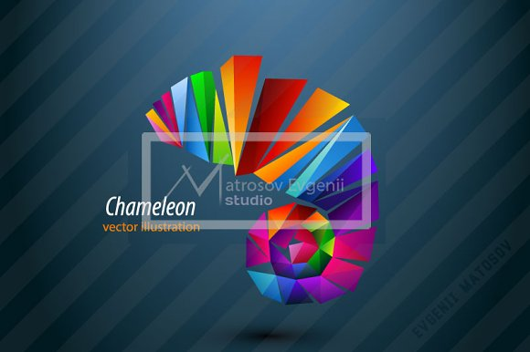 Chameleon from triangles. Logo - Illustrations
