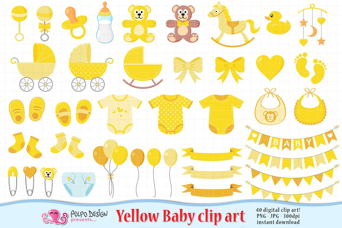 Yellow Baby Clipart Graphic Objects Creative Market