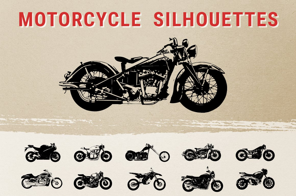 Vintage Motorcycle Silhouettes ~ Graphic Objects ...