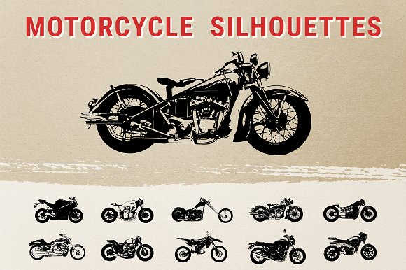 Vintage Motorcycle Silhouettes