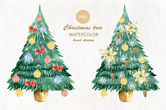 Weihnachtsmotive Png.Watercolor Christmas Set