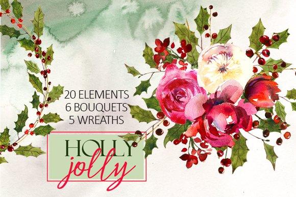 Holly Steams Christmas Watercolors