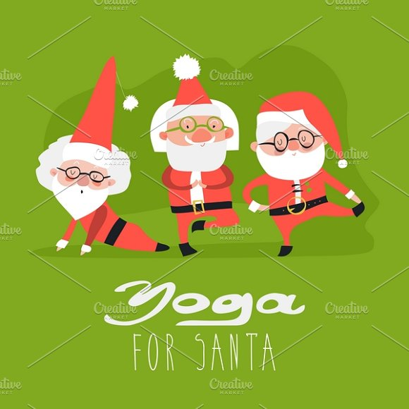 Santa claus doing yoga in Illustrations