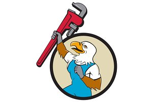 Plumber Eagle Raising Up Pipe Wrench