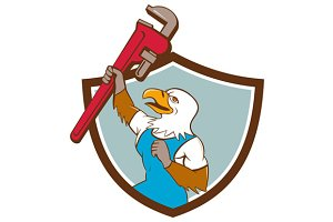 Eagle Plumber Raising Up Pipe Crest
