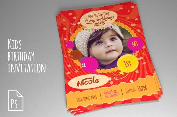 Kids birthday invitation psd vol 2 invitation templates kids birthday invitation psd vol 2 invitations filmwisefo