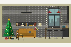 Christmas interior of living room