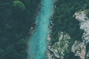 Aerial shot of wild mountain river