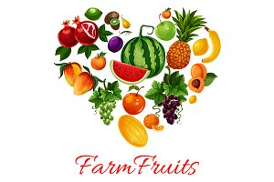 Fruits icons in heart shape