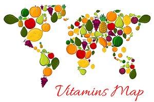 Fruit vitamins world map