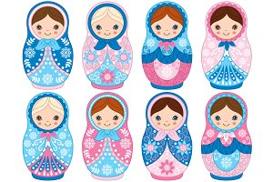 Vector Winter Matryoshka Set