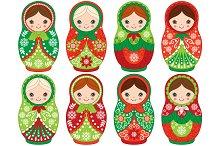 Vector Christmas Matryoshka Set
