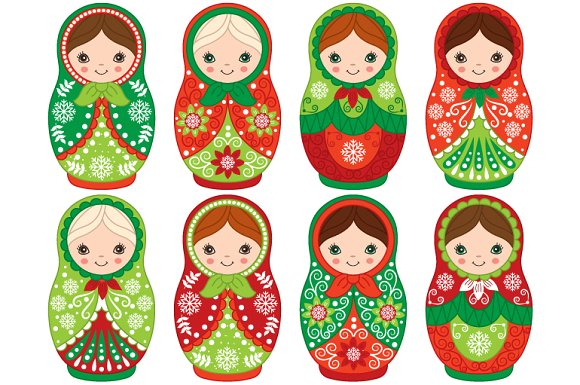Vector Christmas Matryoshka Set