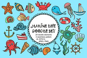 Vector Marine life doodle set.