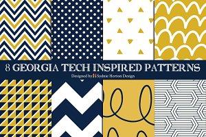 8 GA Tech inspired Seamless Patterns
