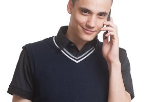 young man talking phone, white.