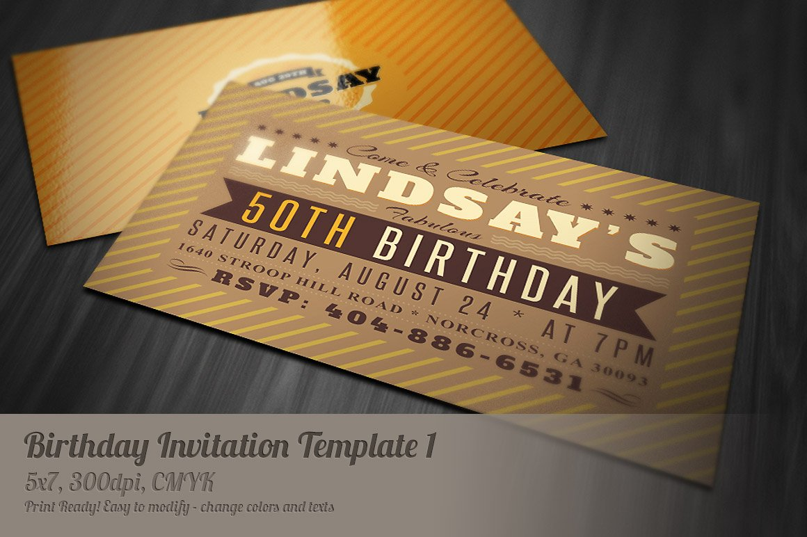 Retro Birthday Invitation Invitation Templates Creative Market - 5x7 birthday invitation template