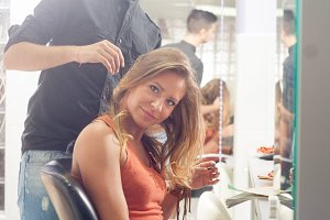happy customer hairstylist salon
