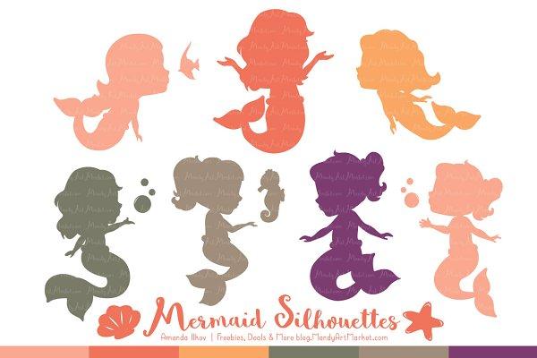 Mermaid Silhouettes in Antique Peac…