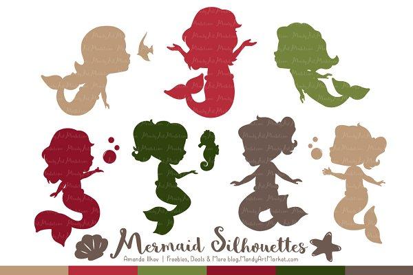 Mermaid Silhouettes in Christmas