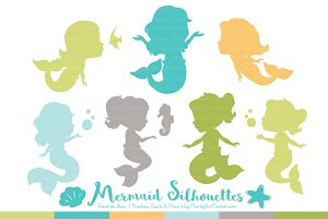 Mermaid Silhouettes in Land & Sea