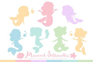 Mermaid Silhouettes in Pastel