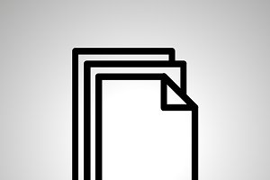 Black icon of pile of documents