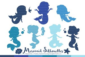 Shades of Blue Mermaid Clipart
