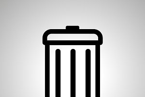 Simple black icon of trash can