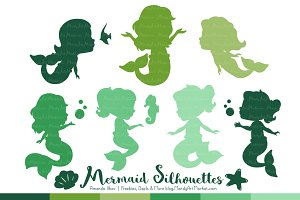 Shades of Green Mermaid Clipart