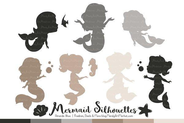 Shades of Neutral Mermaid Clipart