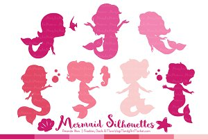 Shades of Pink Mermaid Clipart