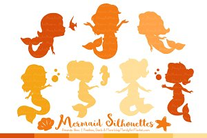 Shades of Yellow Mermaid Clipart