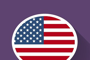 Speech bubble with American flag