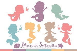 Mermaid Silhouettes in Vintage Girl