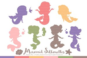 Mermaid Silhouettes in Wildflowers