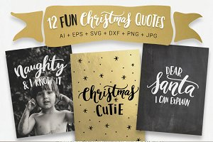 12 fun Christmas quotes, svg, vector